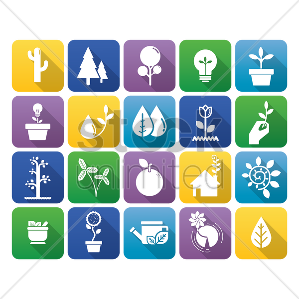 collection of environmental icons vector graphic