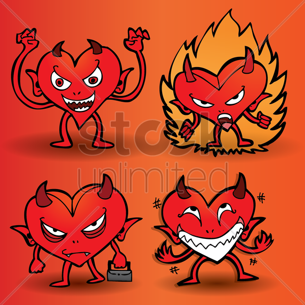 collection of expressive cartoon devil with a heart shaped body vector graphic