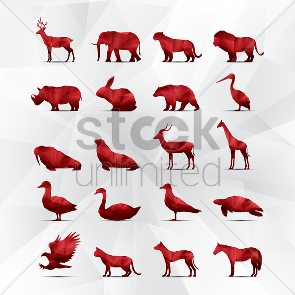 collection of faceted animals vector graphic