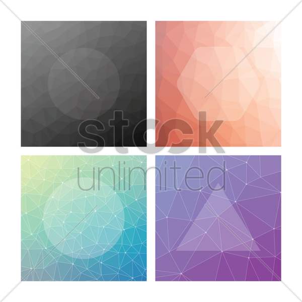 collection of faceted backgrounds vector graphic