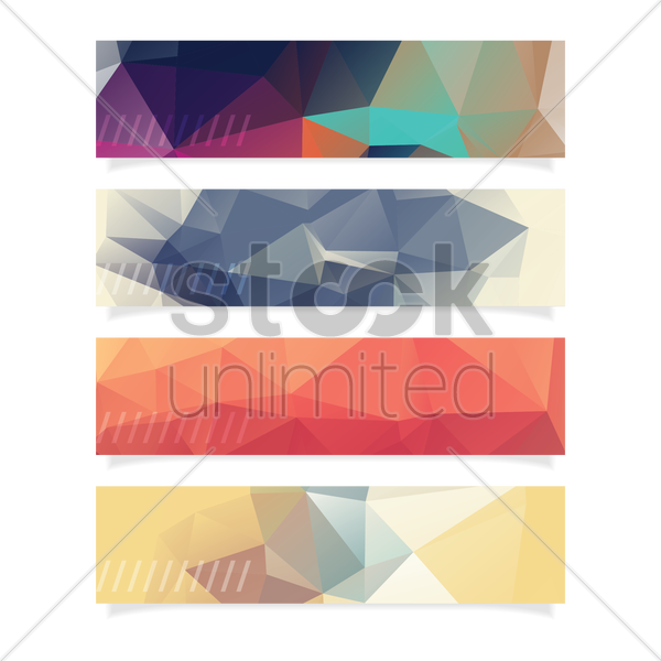 collection of faceted banner vector graphic
