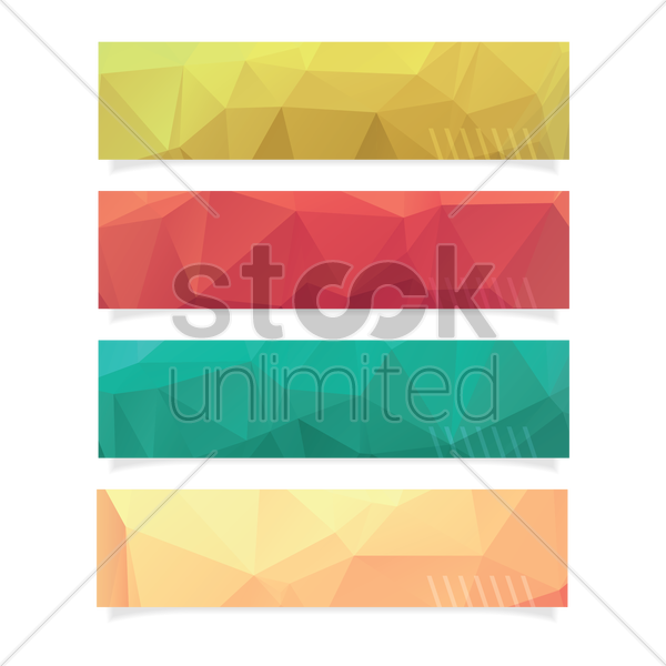 collection of faceted banners vector graphic