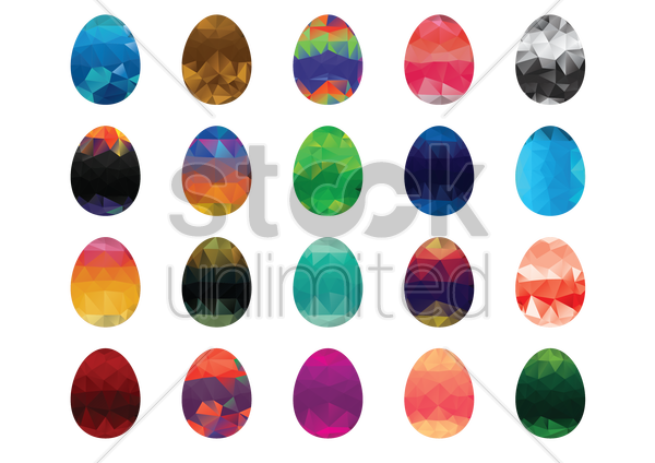 collection of faceted easter eggs vector graphic