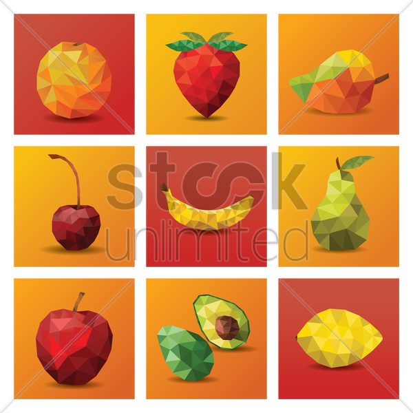 collection of faceted fruit vector graphic