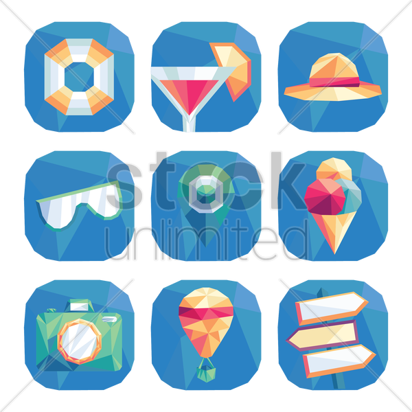 collection of faceted travel icons vector graphic