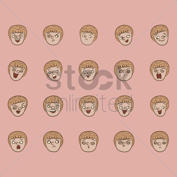 collection of facial expressions vector graphic