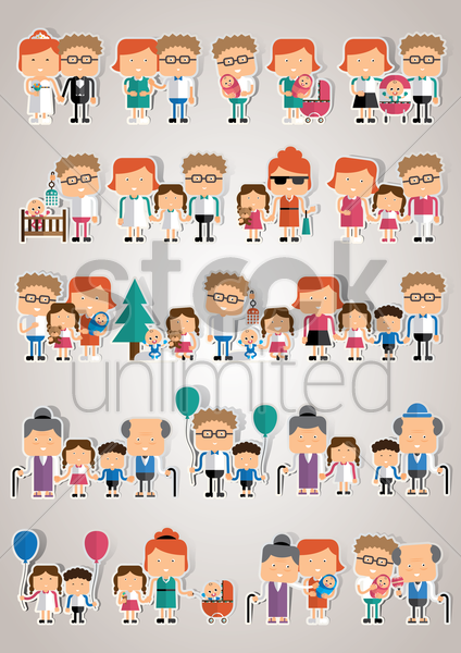 collection of family icons vector graphic