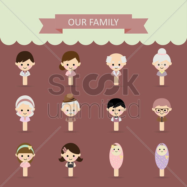 collection of family members vector graphic