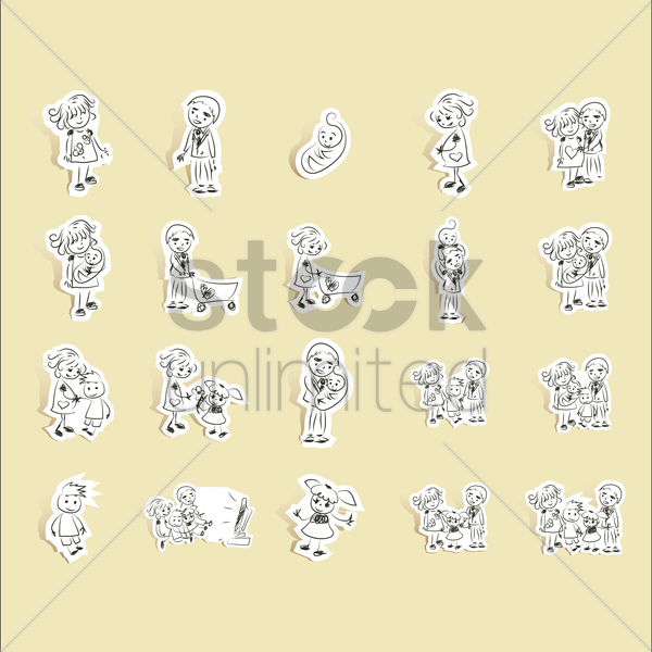 Free collection of family pictogram vector graphic
