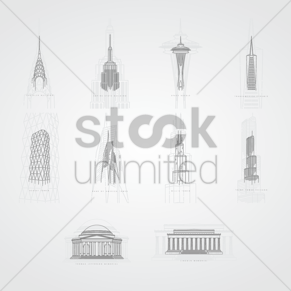 collection of famous usa landmarks vector graphic