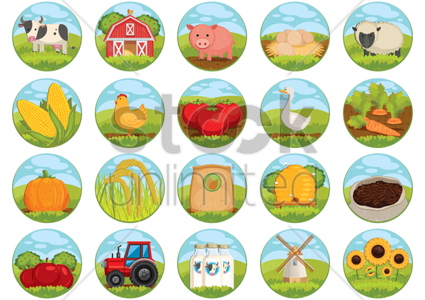 collection of farm related icons vector graphic