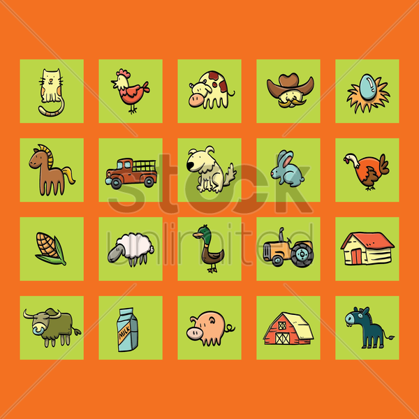 collection of farming elements vector graphic