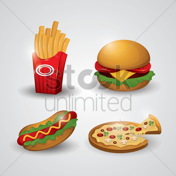 Free collection of fast food icons vector graphic