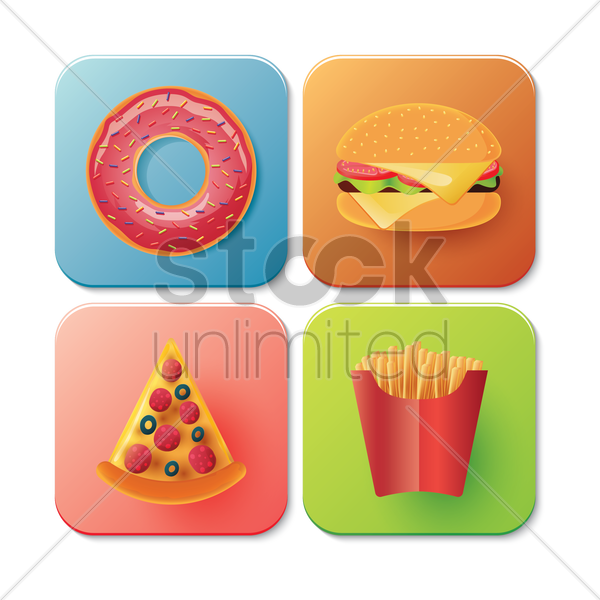 collection of fast food icons vector graphic
