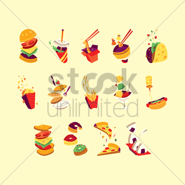 collection of fast food vector graphic
