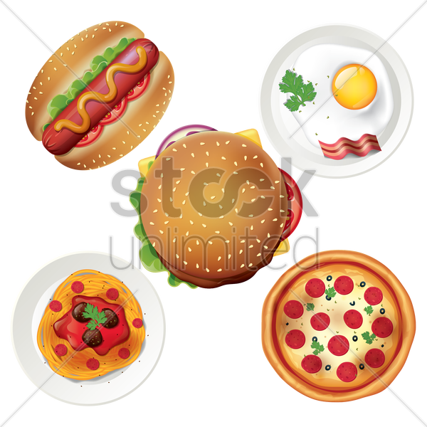 collection of fast foods vector graphic
