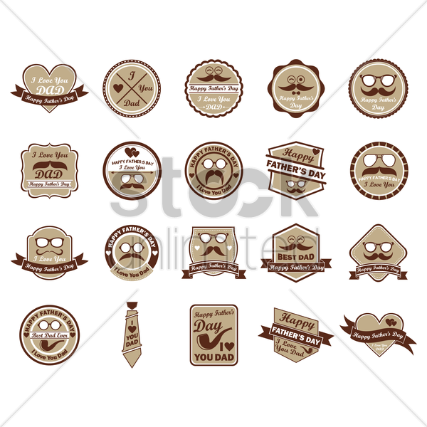 collection of father's day labels vector graphic