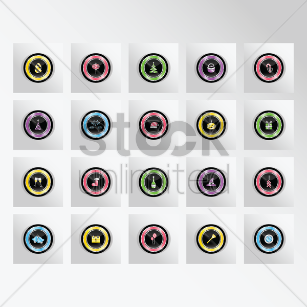 collection of festive button vector graphic