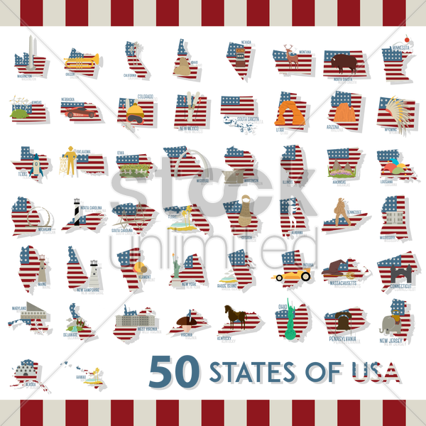 collection of fifty states of usa vector graphic