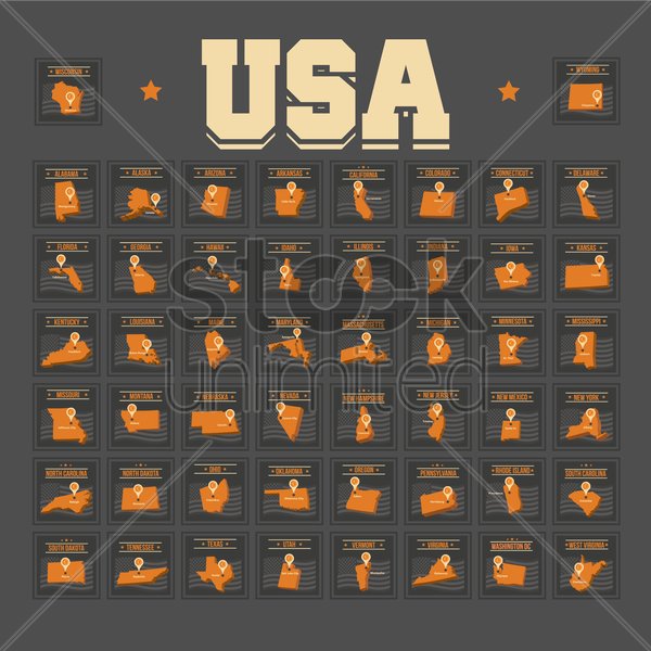 collection of fifty united states of america vector graphic