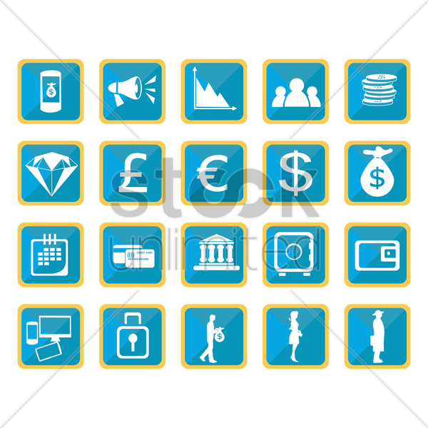 collection of finance banking icons vector graphic