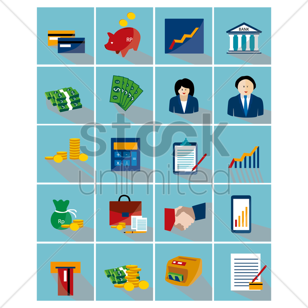 collection of finance banking related icons vector graphic