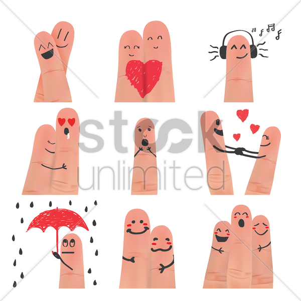 collection of finger art facial expression vector graphic
