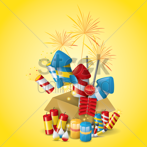collection of fireworks and firecrackers vector graphic