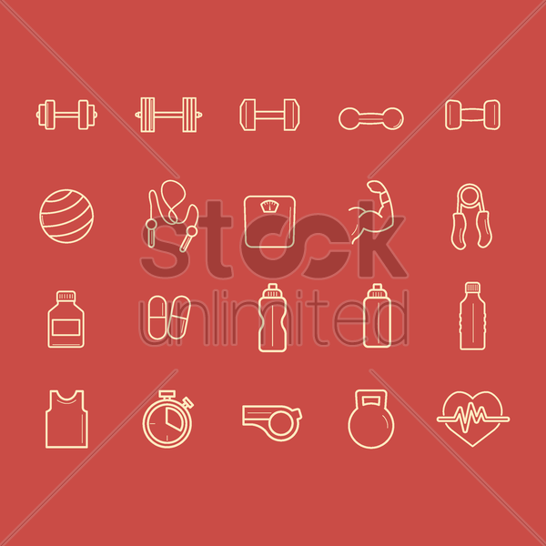 collection of fitness icons vector graphic