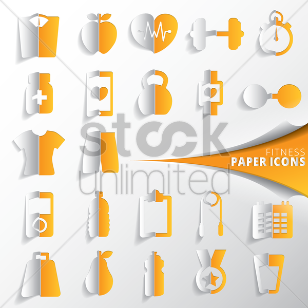 collection of fitness paper icons vector graphic