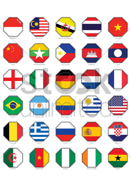 collection of flags symbol vector graphic