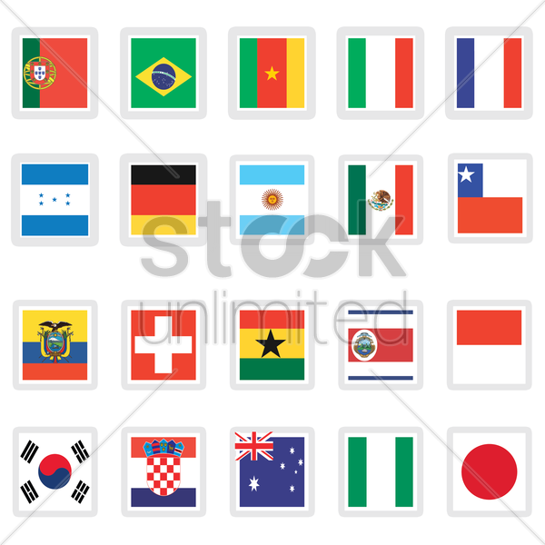 collection of flags vector graphic