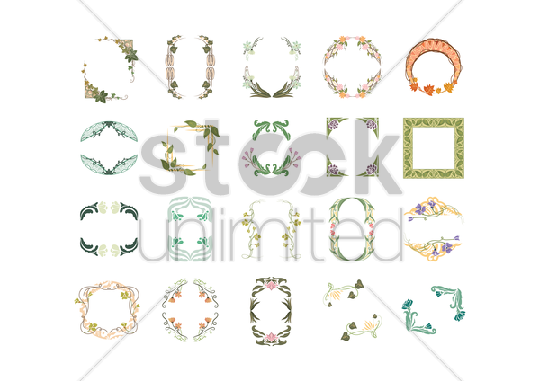 collection of floral frames vector graphic