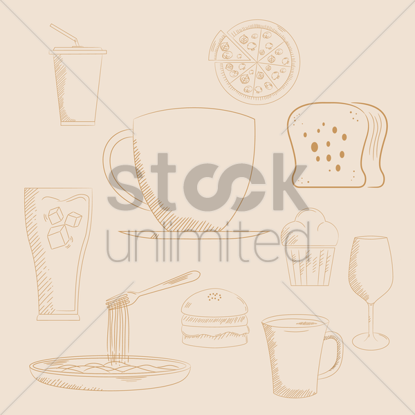 collection of food and beverage vector graphic