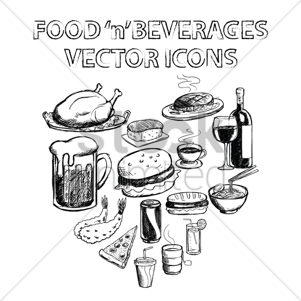 collection of food and beverages vector graphic
