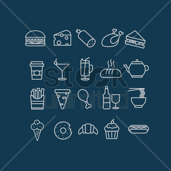 collection of food and drink vector graphic