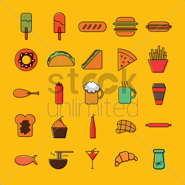 collection of food and drinks vector graphic