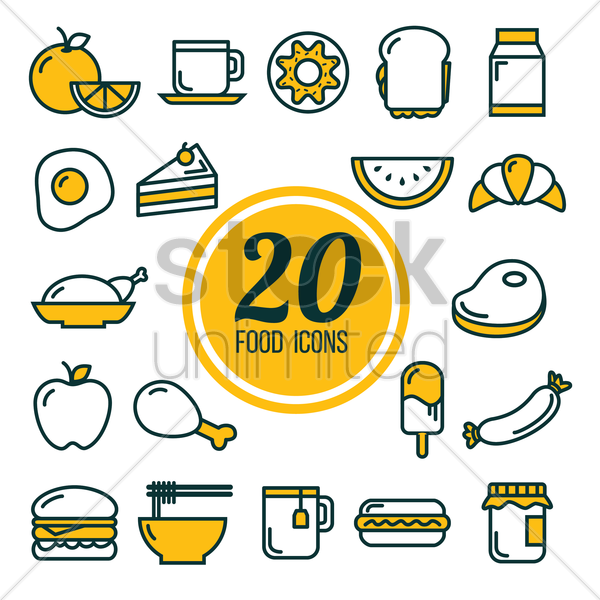 collection of food icons vector graphic