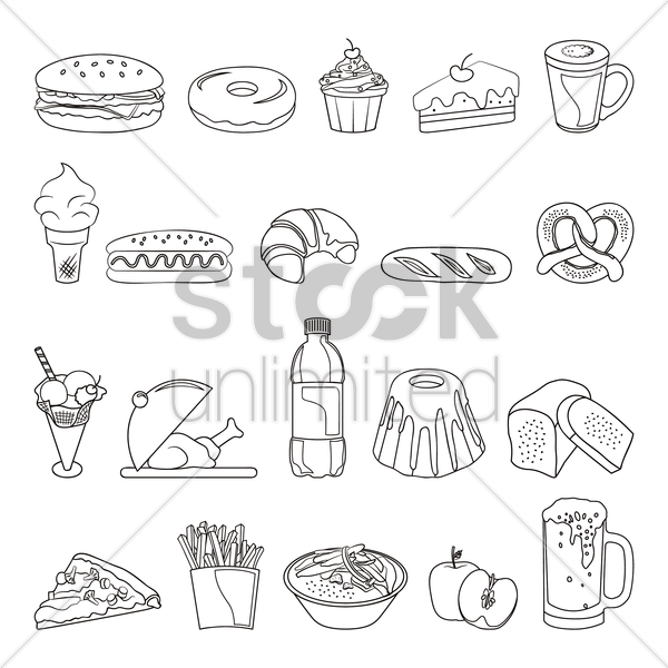 collection of food items vector graphic