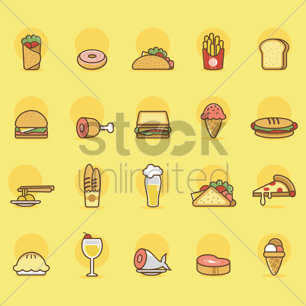 Free collection of food items vector graphic
