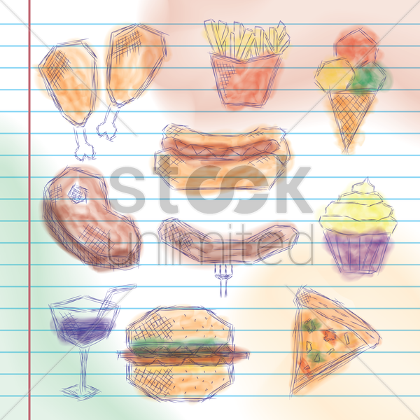 collection of food related sketches vector graphic