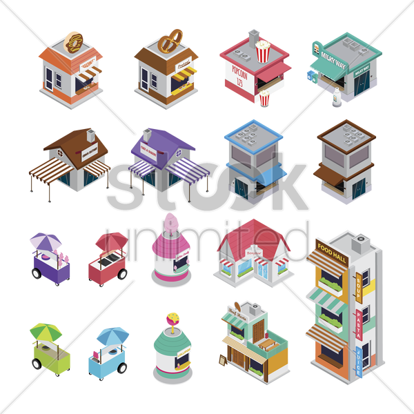 collection of food stores and carts vector graphic