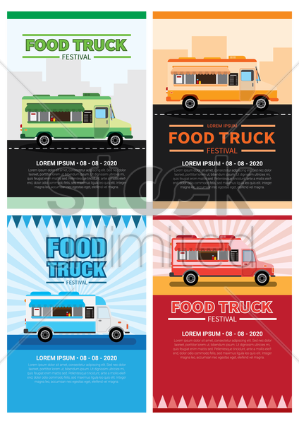 collection of food truck festival posters vector graphic