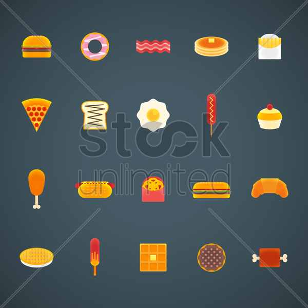 collection of food vector graphic