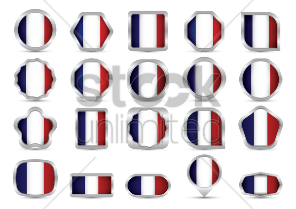 collection of france frag buttons vector graphic