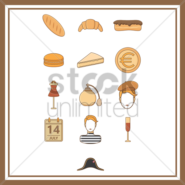 collection of france general icons vector graphic