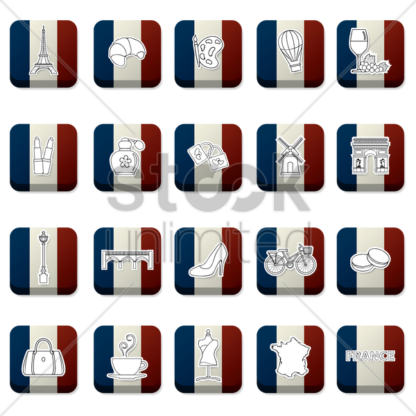 collection of france icons on france flag vector graphic