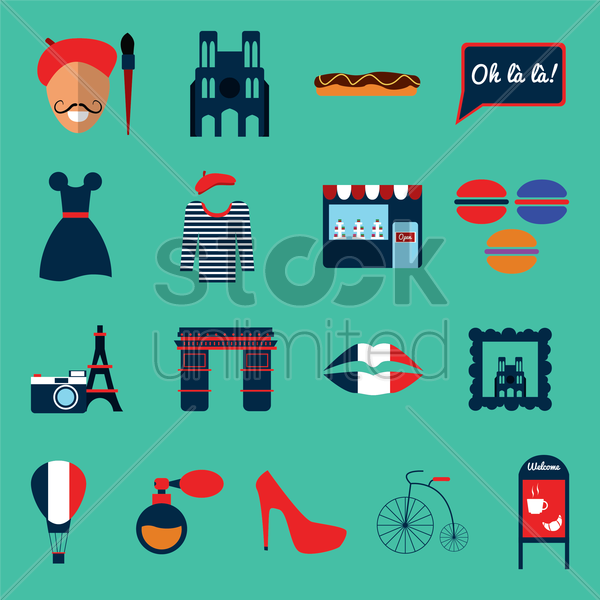 collection of france icons vector graphic