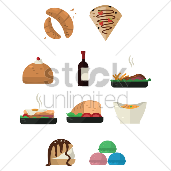 collection of french food and drink vector graphic