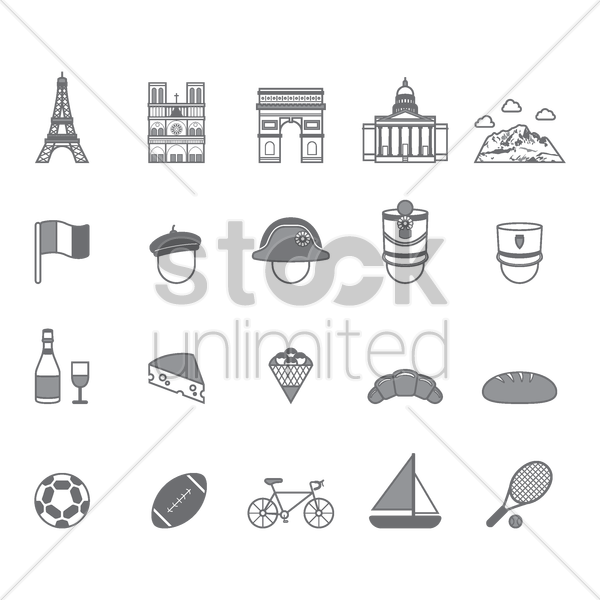 collection of french icons vector graphic